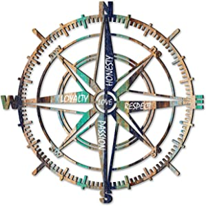 Venovez, Love, Loyalty, Honesty, Respect, Passion, Wood Wall Art, Compass Wall Decor, Nautical Wall Compass, Wall Decor Compass, Diameter 20