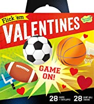 Peaceable Kingdom Valentine Card Flick 'em Sports Games - 28 Card and Envelope Pack