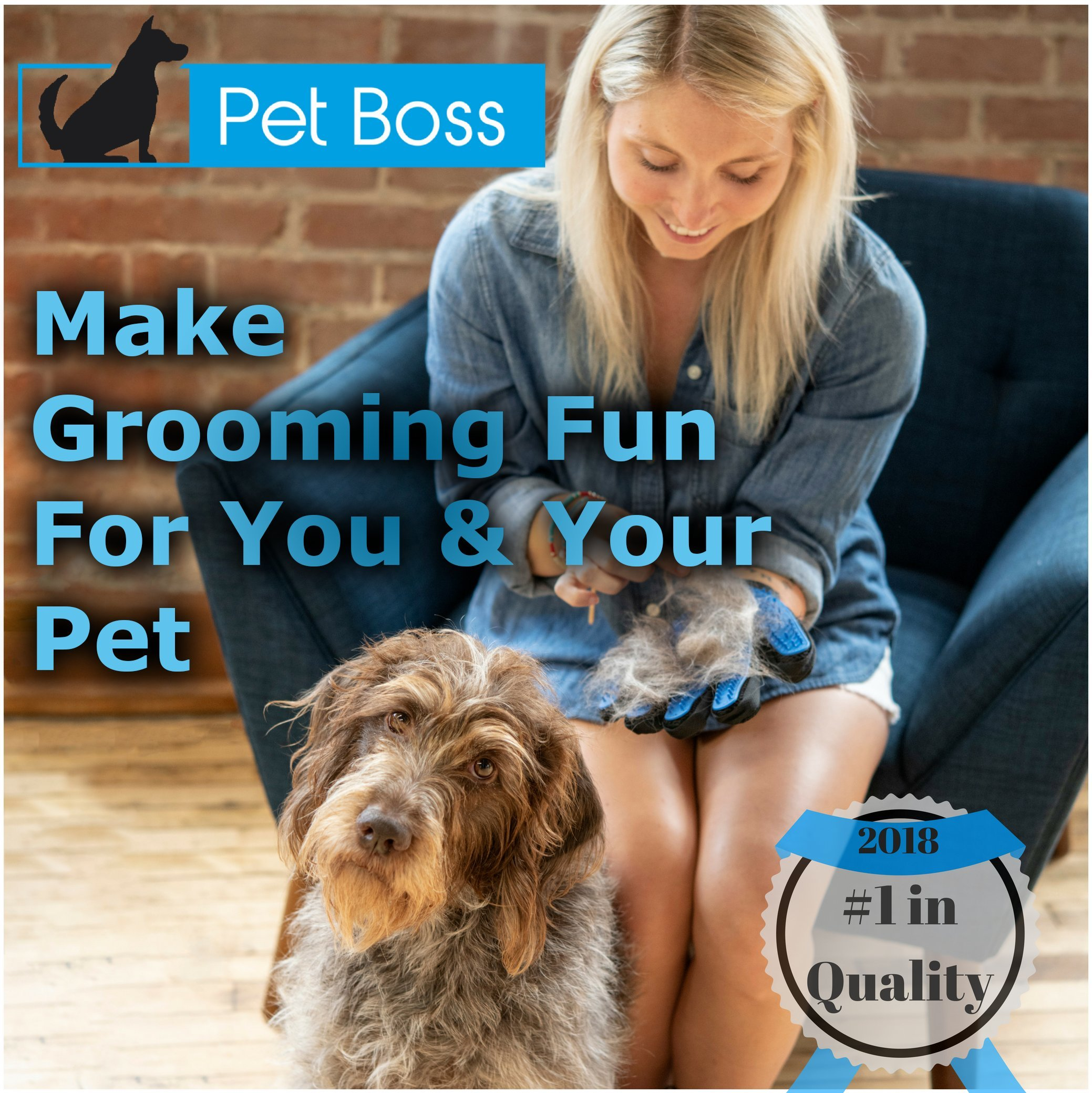 Pet Grooming Glove - Gentle Deshedding Brush Glove - Efficient Pet Hair Remover Mitt - Massage Tool with Enhanced Five Finger Design - Perfect for Dogs & Cats with Long & Short Fur by Pet Boss Co (Image #2)
