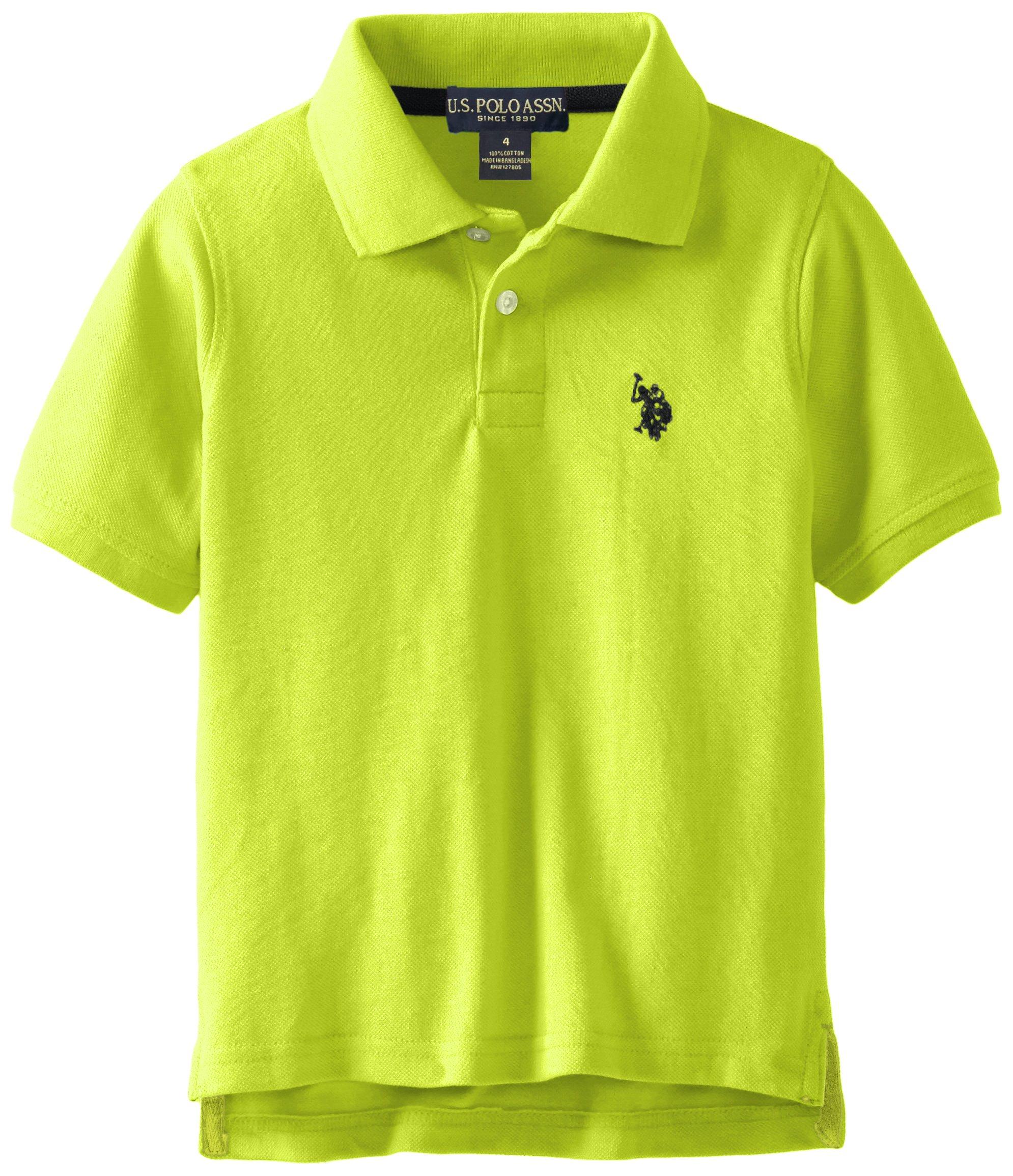 U.S. Polo Assn. Big Boys' Classic Short Sleeve Solid Pique Polo Shirt, Apple Green, 14/16