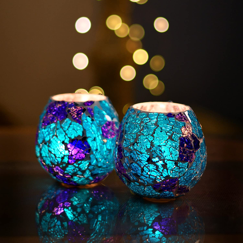 Moroccan Turquoise Glass Crackle Mosaic Candle Holder, Tea Light Holder Votive, Set of 2