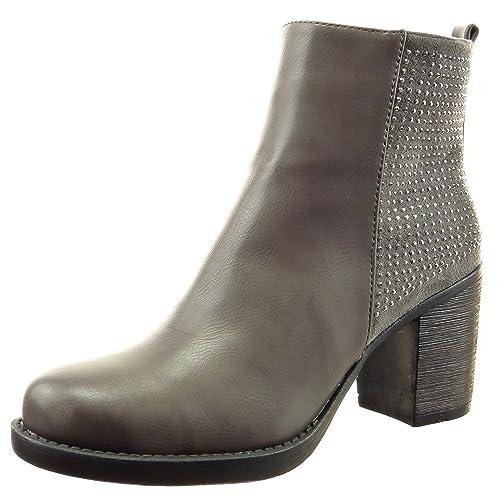 Sopily - Zapatillas de Moda Botines bimaterial A medio muslo mujer strass Talón Tacón ancho alto