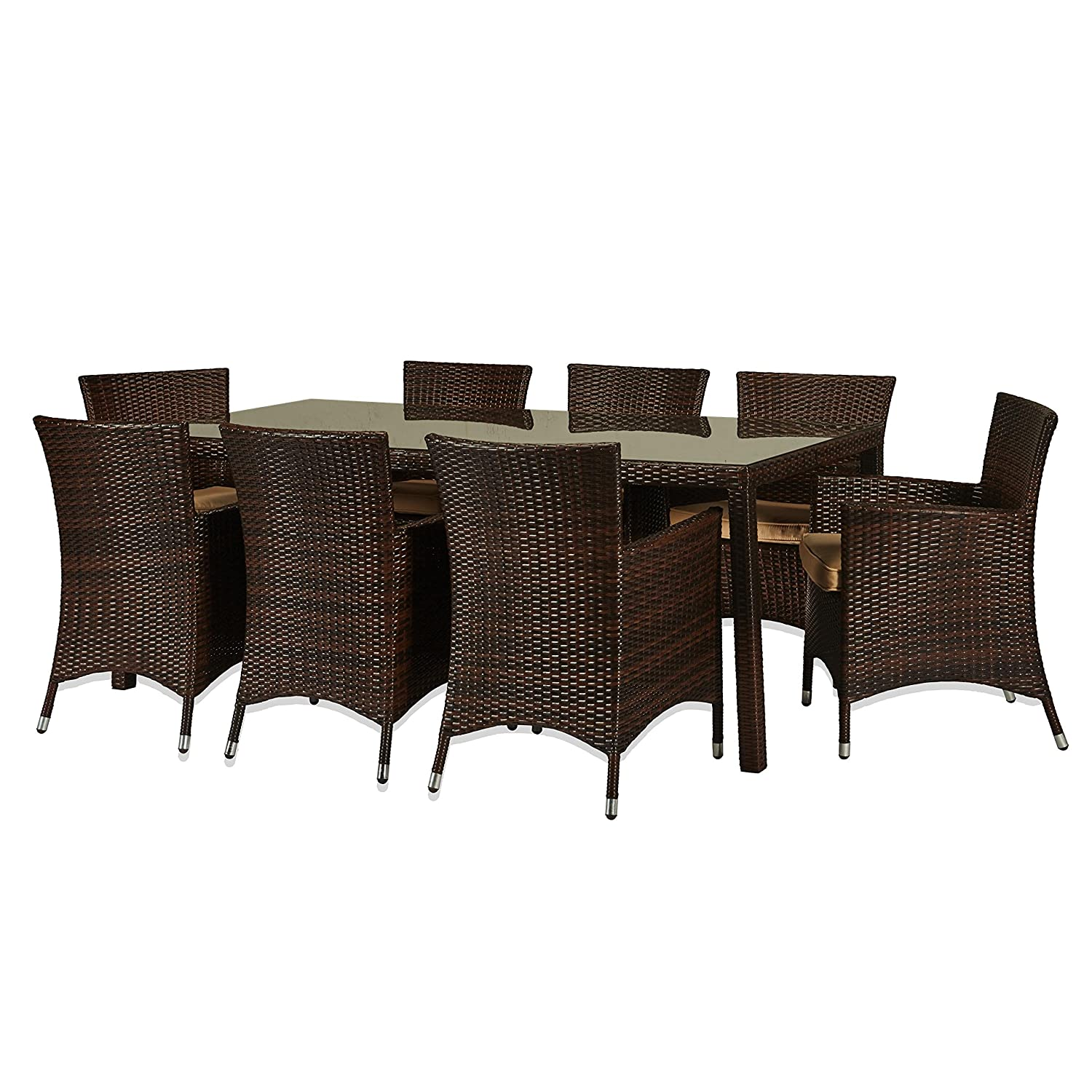 amazon com the hom doha 9 piece wicker patio dining set in beige