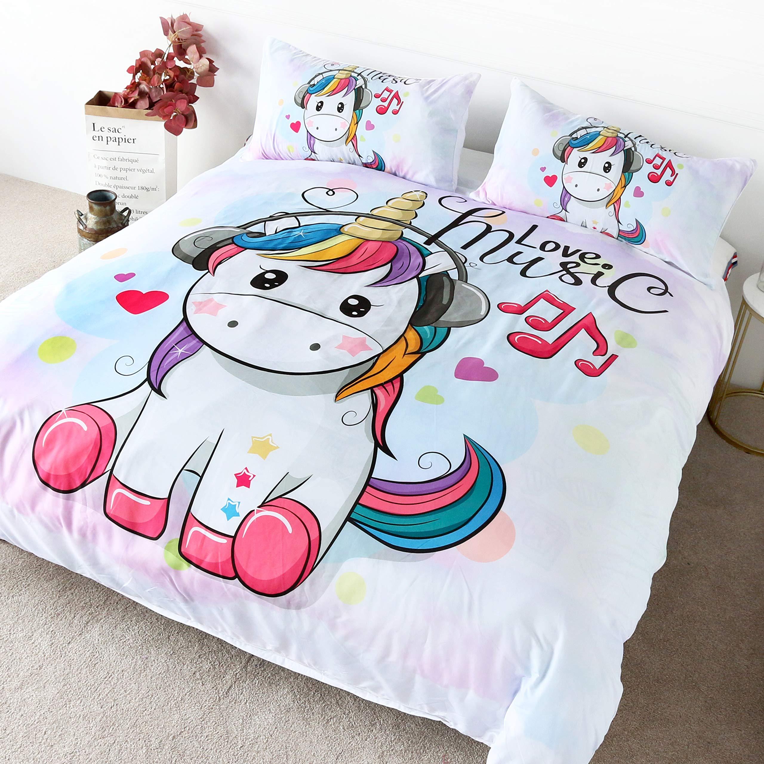 BlessLiving Soft Watercolor Unicorn Bedding 3 Pieces Cute Baby Unicorn Cartoon Wearing Headphones Kids Girls Pink Unicorn Duvet Cover Twin