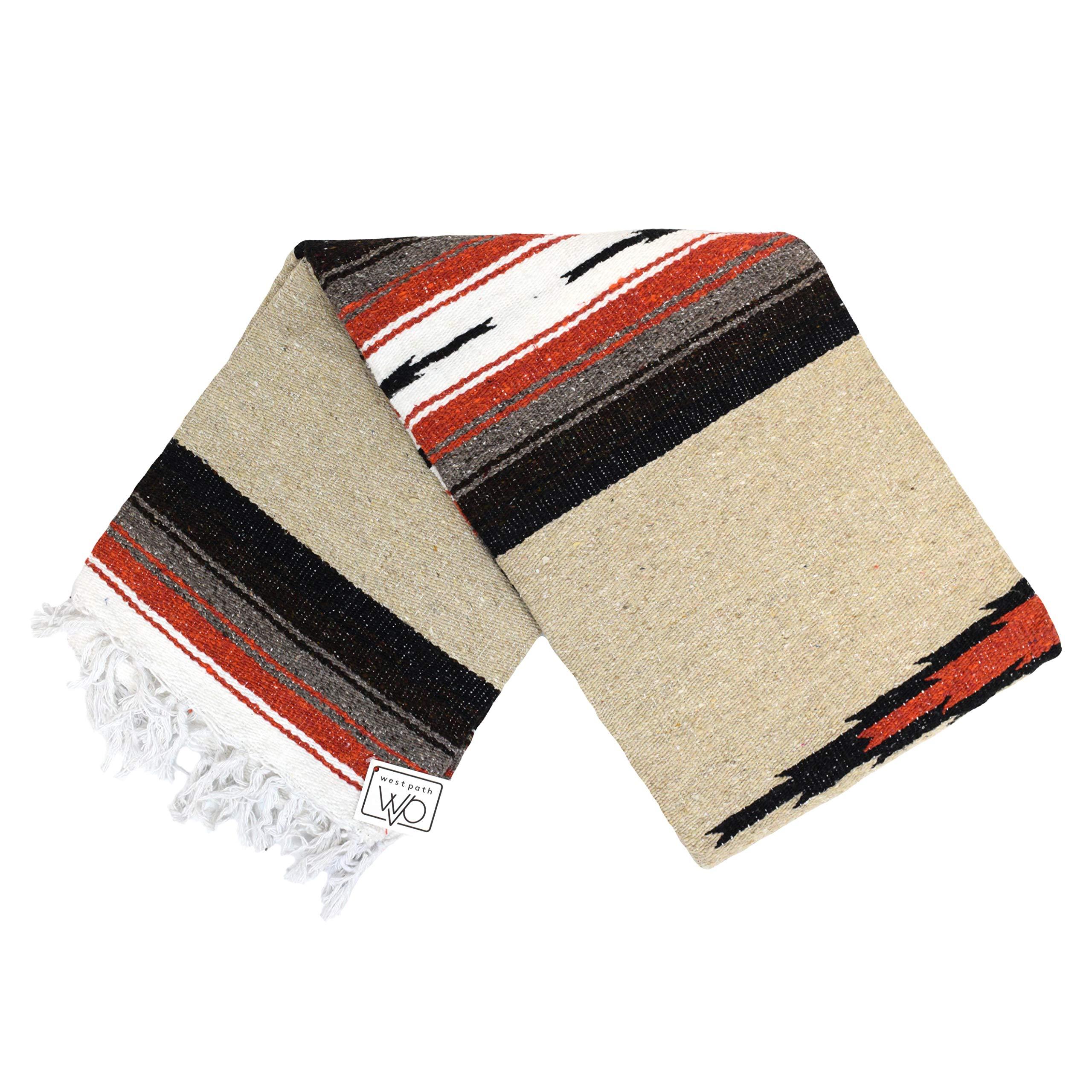 Tan/Khaki Mexican Yoga Blanket - Thick Navajo Diamond Serape with Orange and Brown Stripes