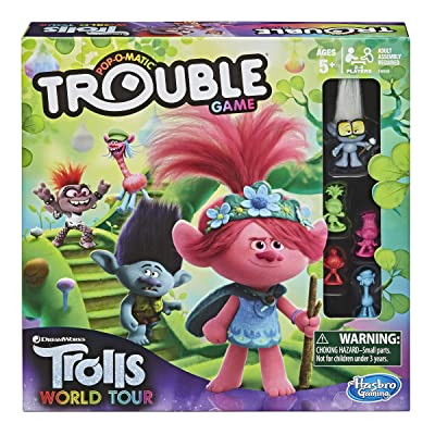 Trouble: DreamWorks Trolls World Tour Edition Board Game for Kids Ages 5 and Up; Includes Tiny Diamond Figure with Hair, Model:E8906: Toys & Games