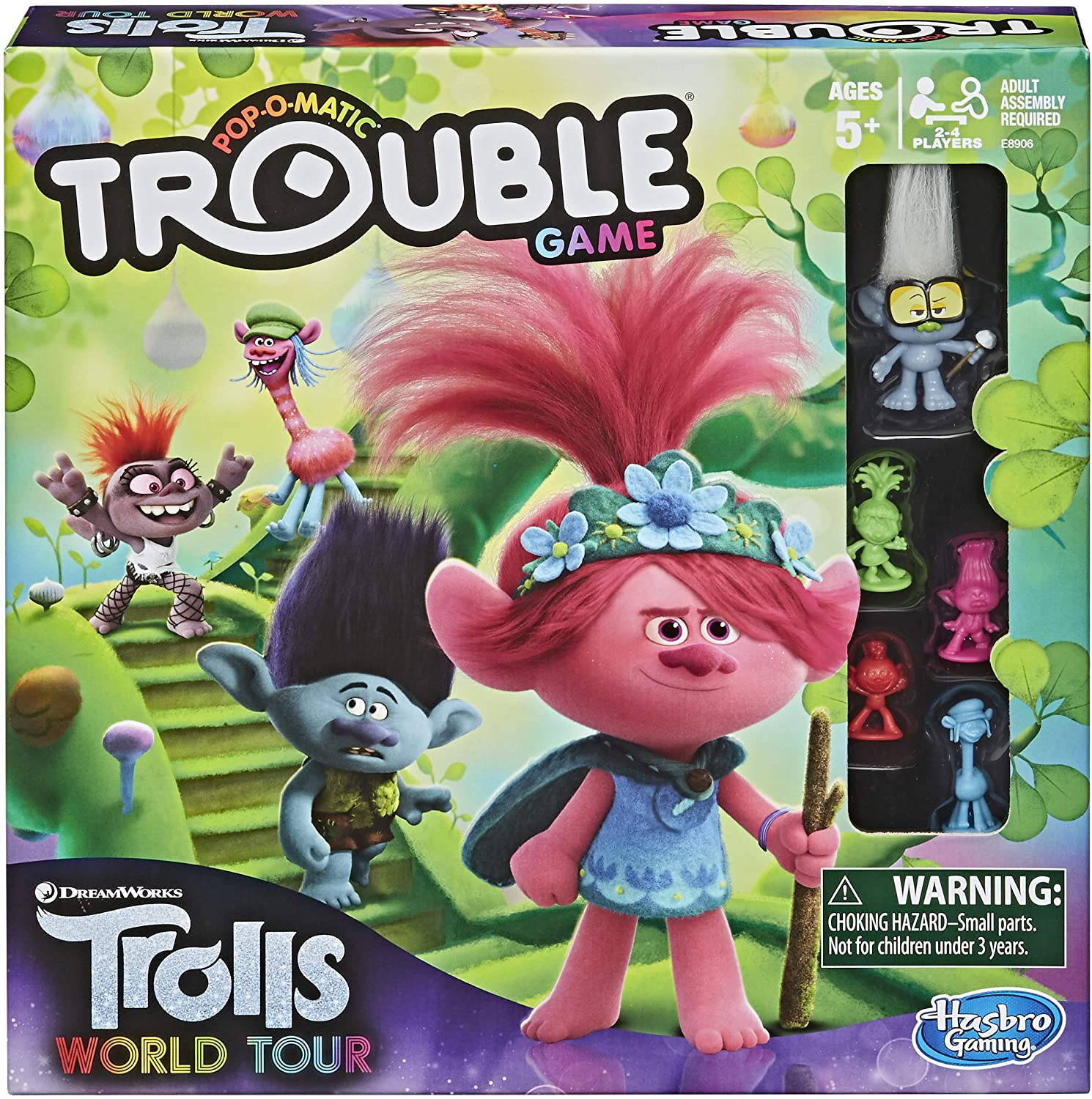 Amazon Com Trouble Dreamworks Trolls World Tour Edition Board Game For Kids Ages 5 And Up Includes Tiny Diamond Figure With Hair Model E8906 Toys Games