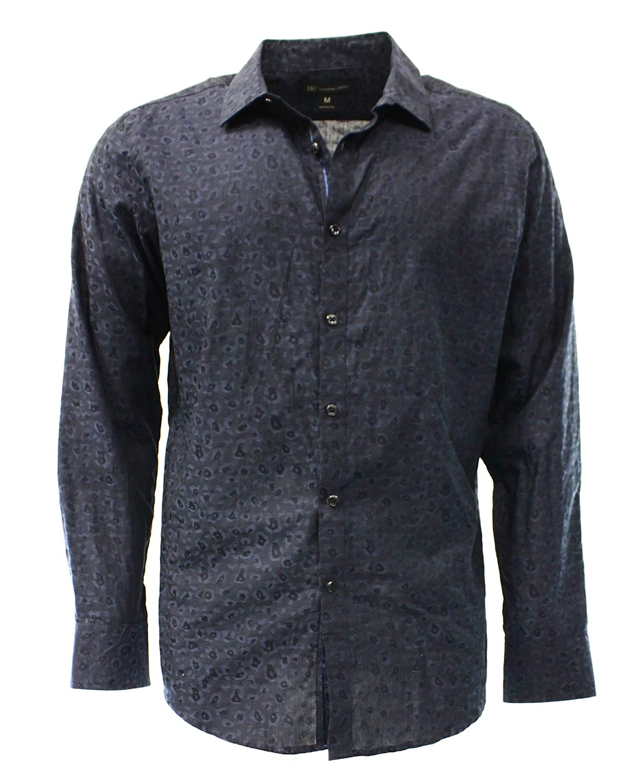 INC Navy Men's Button-Front Long Sleeve Woven Shirt