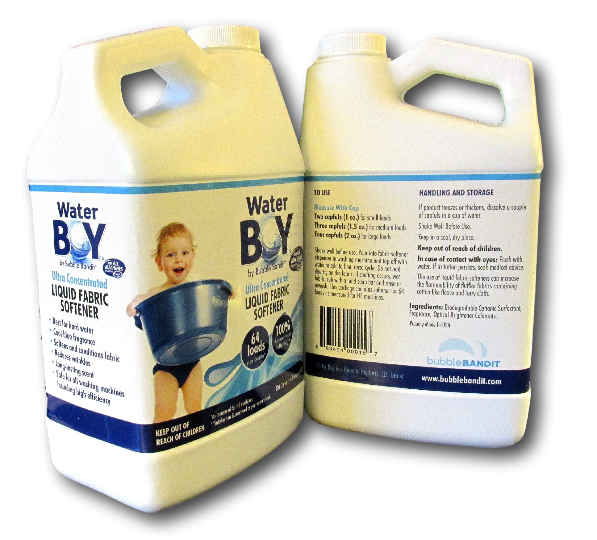 Water Boy Liquid Fabric Softener - Concentrated for Hard Water- 2 Pack (1 gallon total)