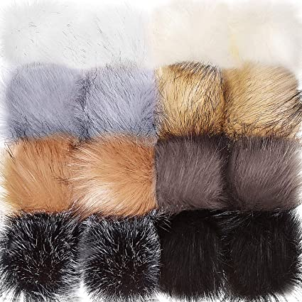 03c3677bd4f3 Image Unavailable. Image not available for. Color  Tatuo Faux Fur Pom Pom  Ball ...