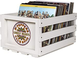 Crosley AC1004A-SP Record Storage Crate Holds up to 75 Albums, The Beatles SGT. Pepper's