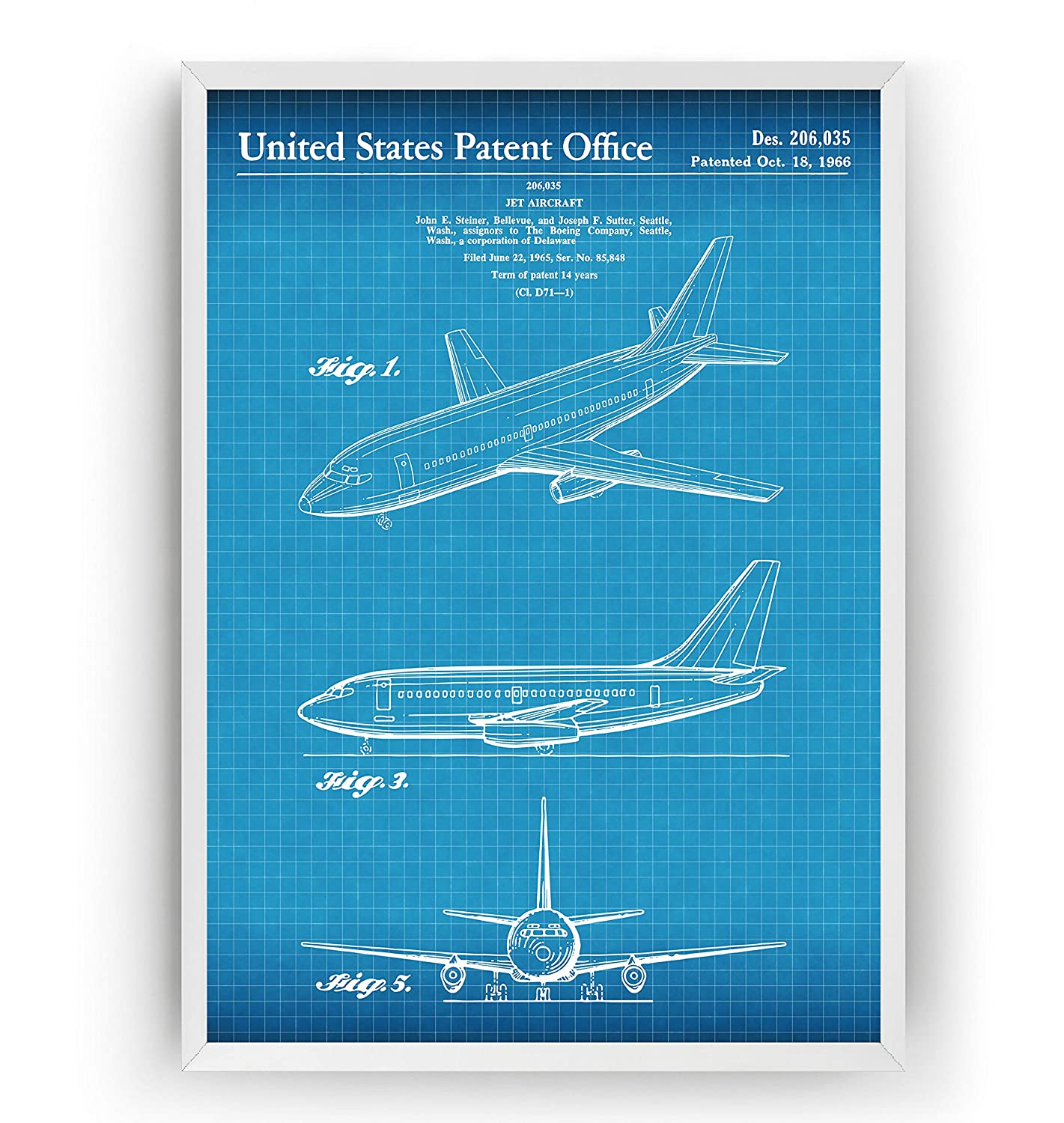 Patent Poster Giclee Print Art Decor D/écoration Cadeau Gift Frame Not Included Boeing 737 1966