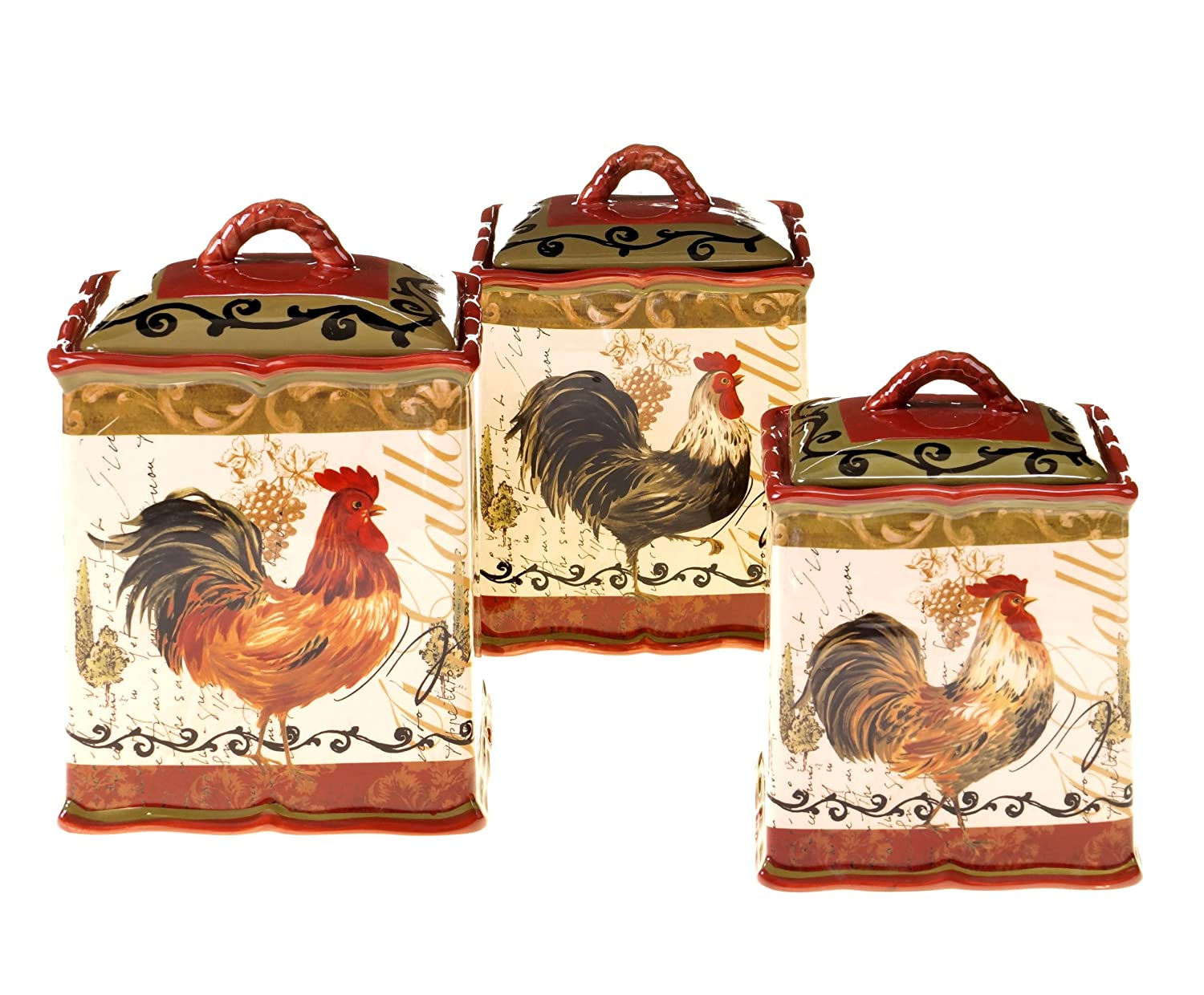 Certified International Tuscan Rooster 3-Piece Canister Set, 72-Ounce, 114-Ounce and 144-Ounce Certified International Corp 63205