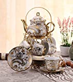 ufengkeWhite And Gold Flower 13 European Retro Titanium Ceramic Tea Set Tea Service For Wedding