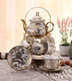 ufengke® White And Gold Flower 13 European Retro Titanium Ceramic Tea Set Tea Service For Wedding