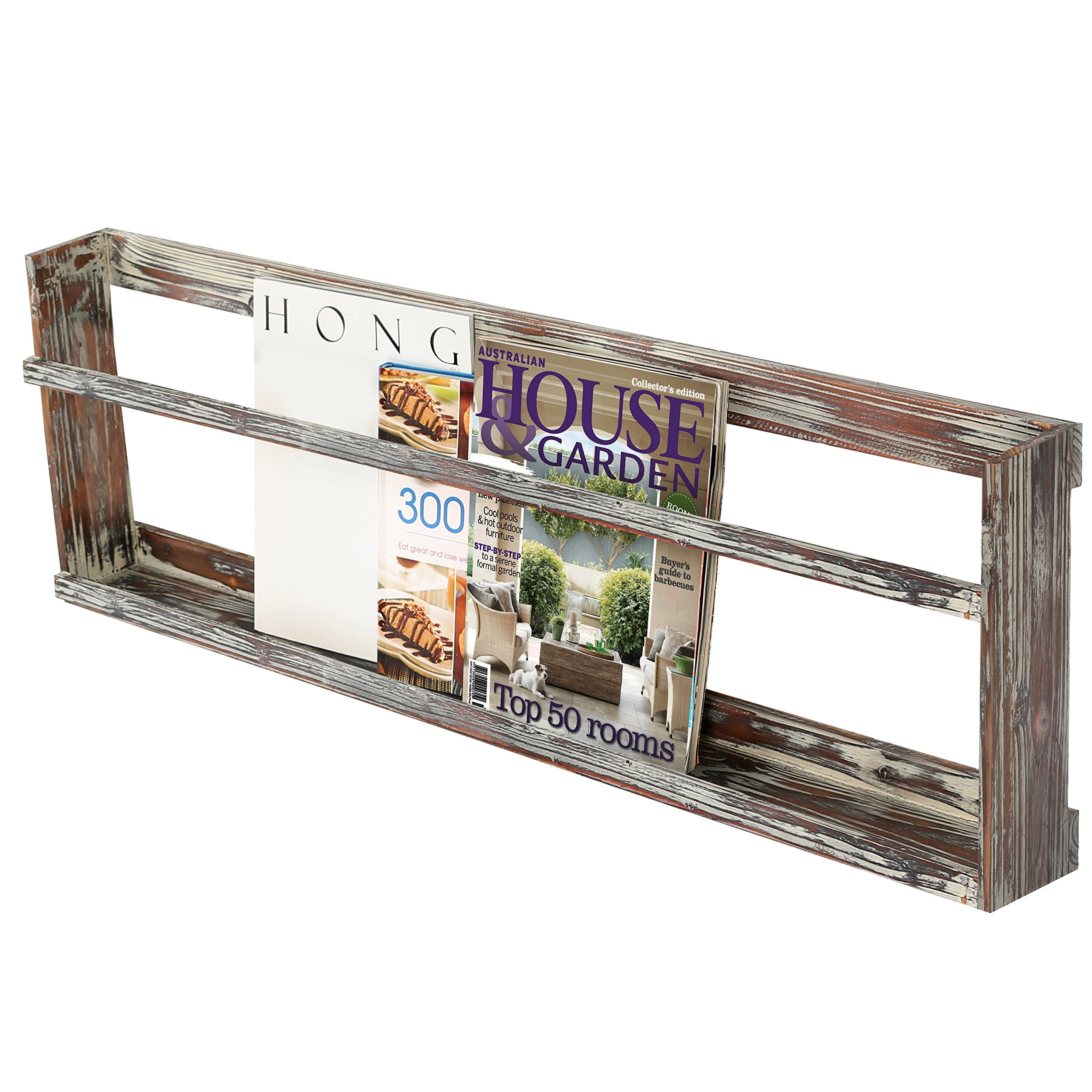 Rustic Wall Mounted Torched Wood Magazine Book Display Rack Shelf with Railing