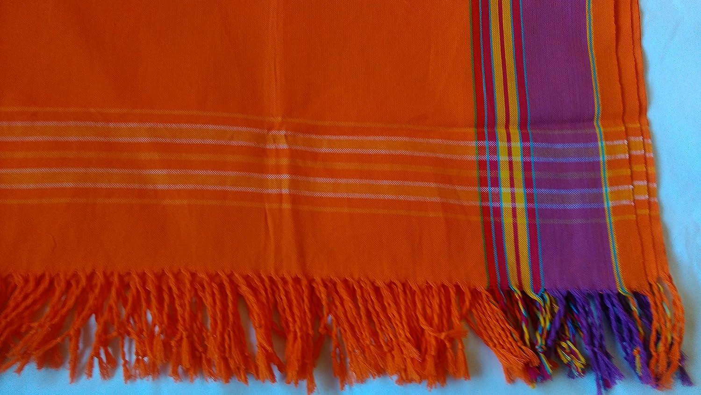 Kikoy: Pareo y chalina de algodón de Kenia original, Naranja, Apps. 168cm x 160cm