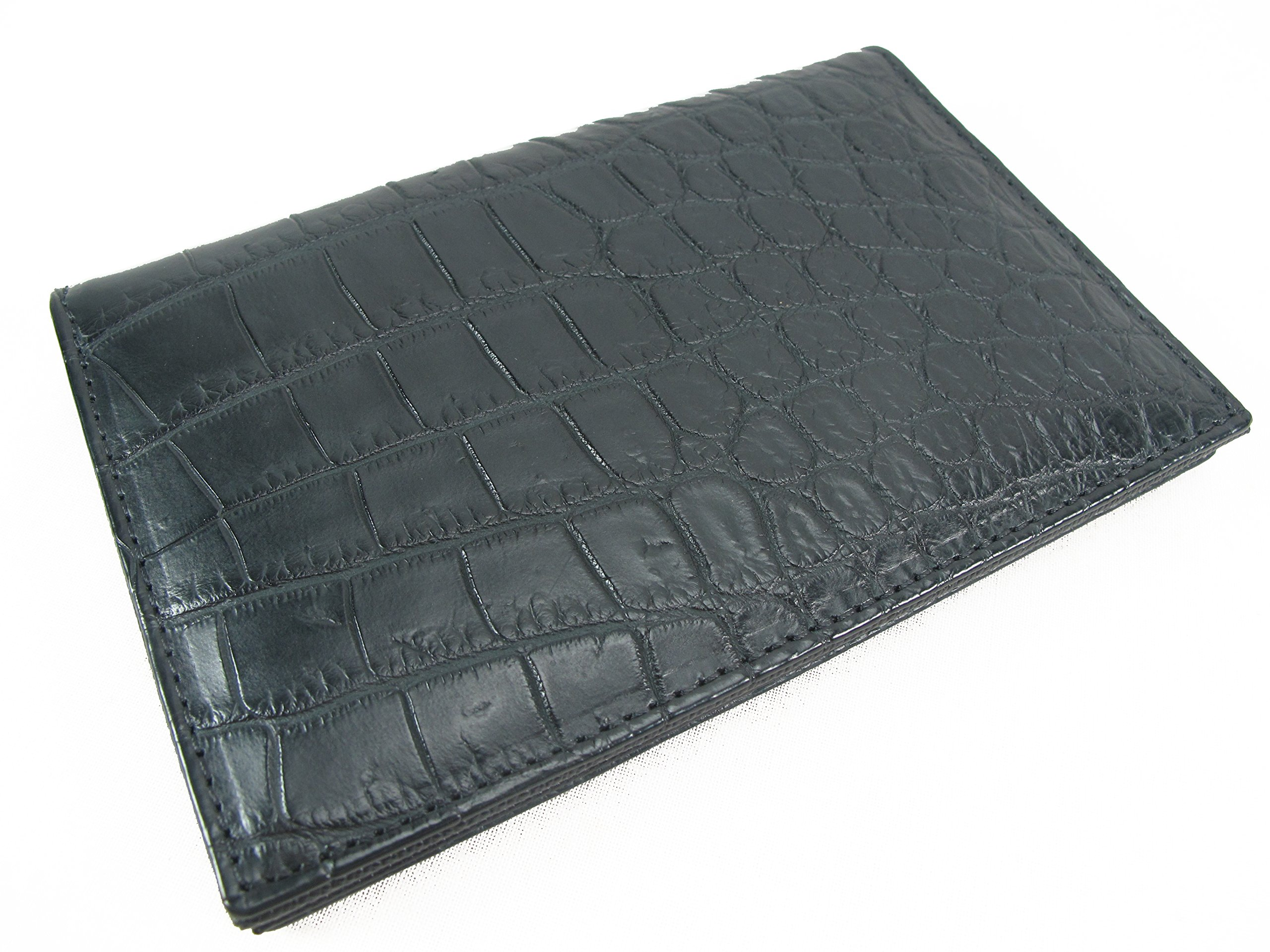 PELGIO Genuine Crocodile Alligator Belly Skin Leather Slim Passport Holder Wallet (Black)