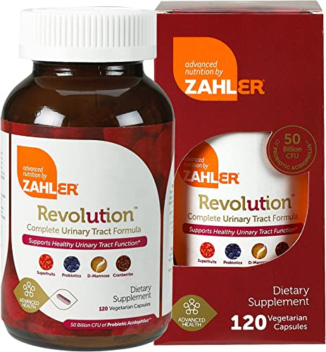 Zahlers UTI Revolution, Urinary Tract and Bladder Health, Cranberry Concentrate Pills Fortified with D-Mannose and Probiotics, Certified Kosher,120 Capsules