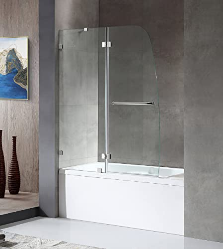 ANZZI Herald 48 x 58 inch Frameless Hinged Tub Door in Polished Chrome Tub Shower Glass Door Crystal Clear Tempered Glass Door for Shower Symmetrical Design Glass Tub Enclosure SD-AZ11-01CH