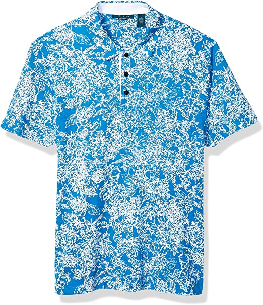 HEFASDM Mens Floral Printed Loose Fit Polo-Collar Polo Blouse T-Shirt Tops