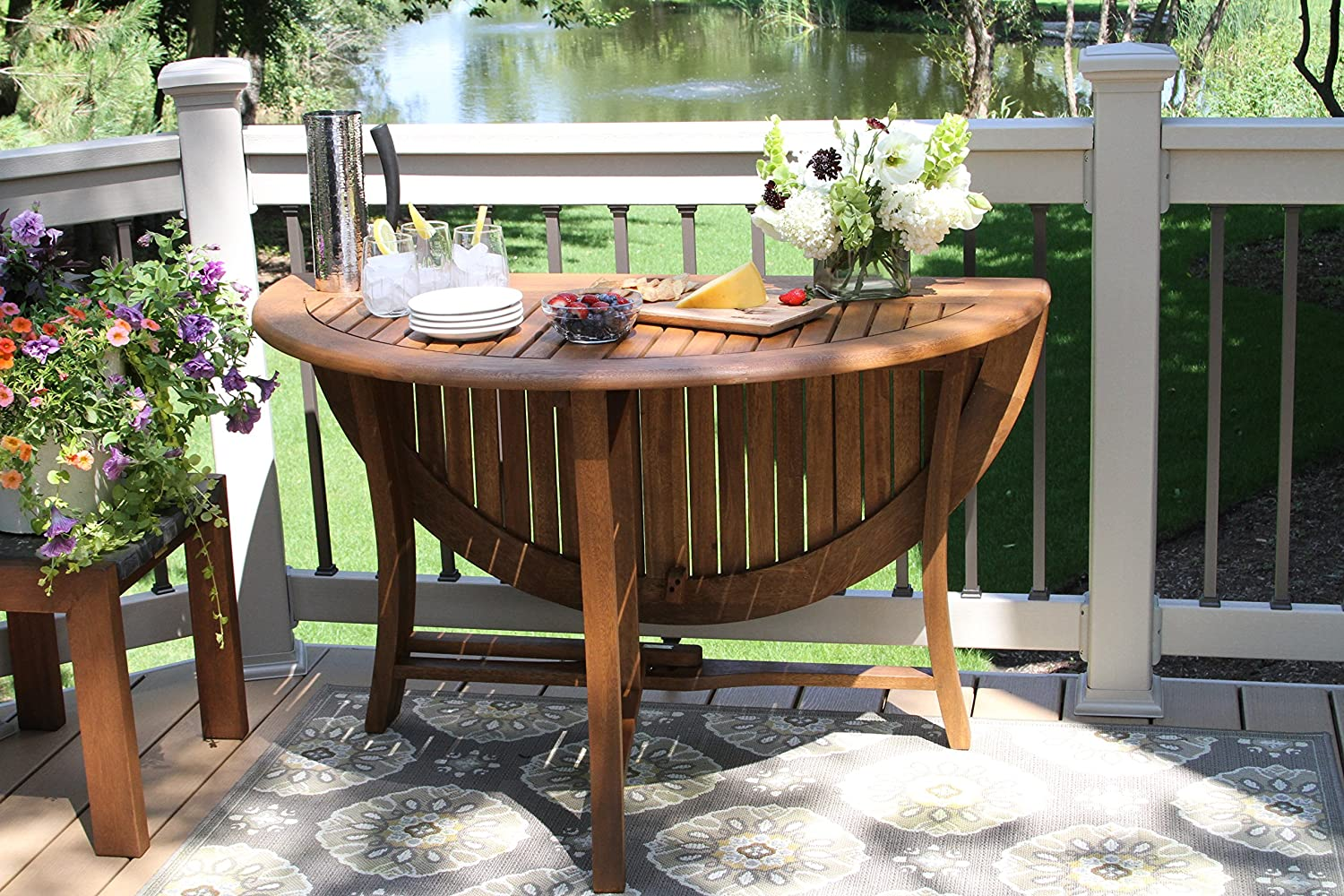 Amazoncom Outdoor Interiors Round Folding Table 48Inch Brown