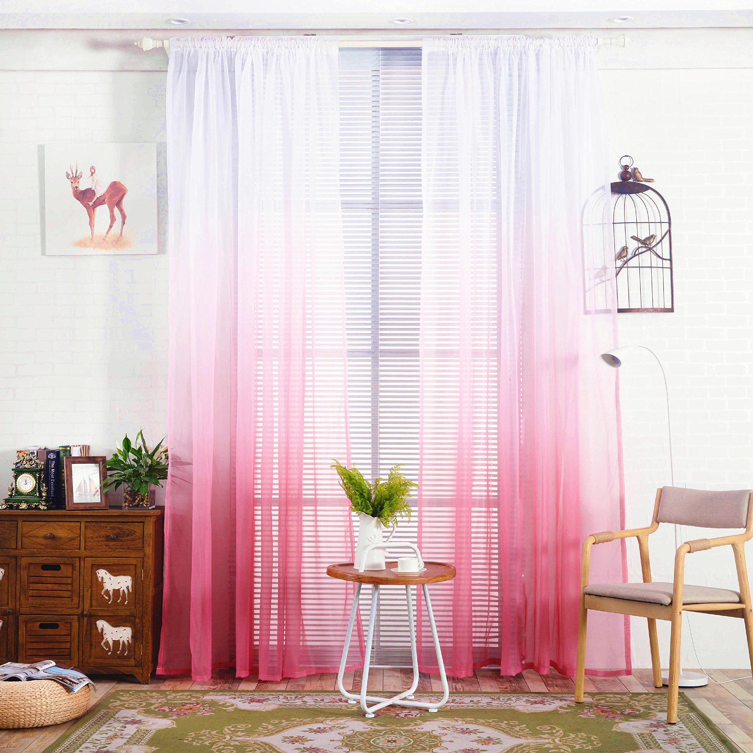 WPKIRA Home Fashion Romatic Rod Pocket Top Dreamlike Gradient Color Window Treatments Panels Voile Perspective Sheer Window Curtains Drapes For Living Room 1 Panel W39 x L63 inch