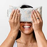 SANSEVO Aromatherapy Lavender Eye Pillow - Rose Quartz, Lavender, Flaxseed with Organic Cotton Flax Cover. Weighted Eye Pillo