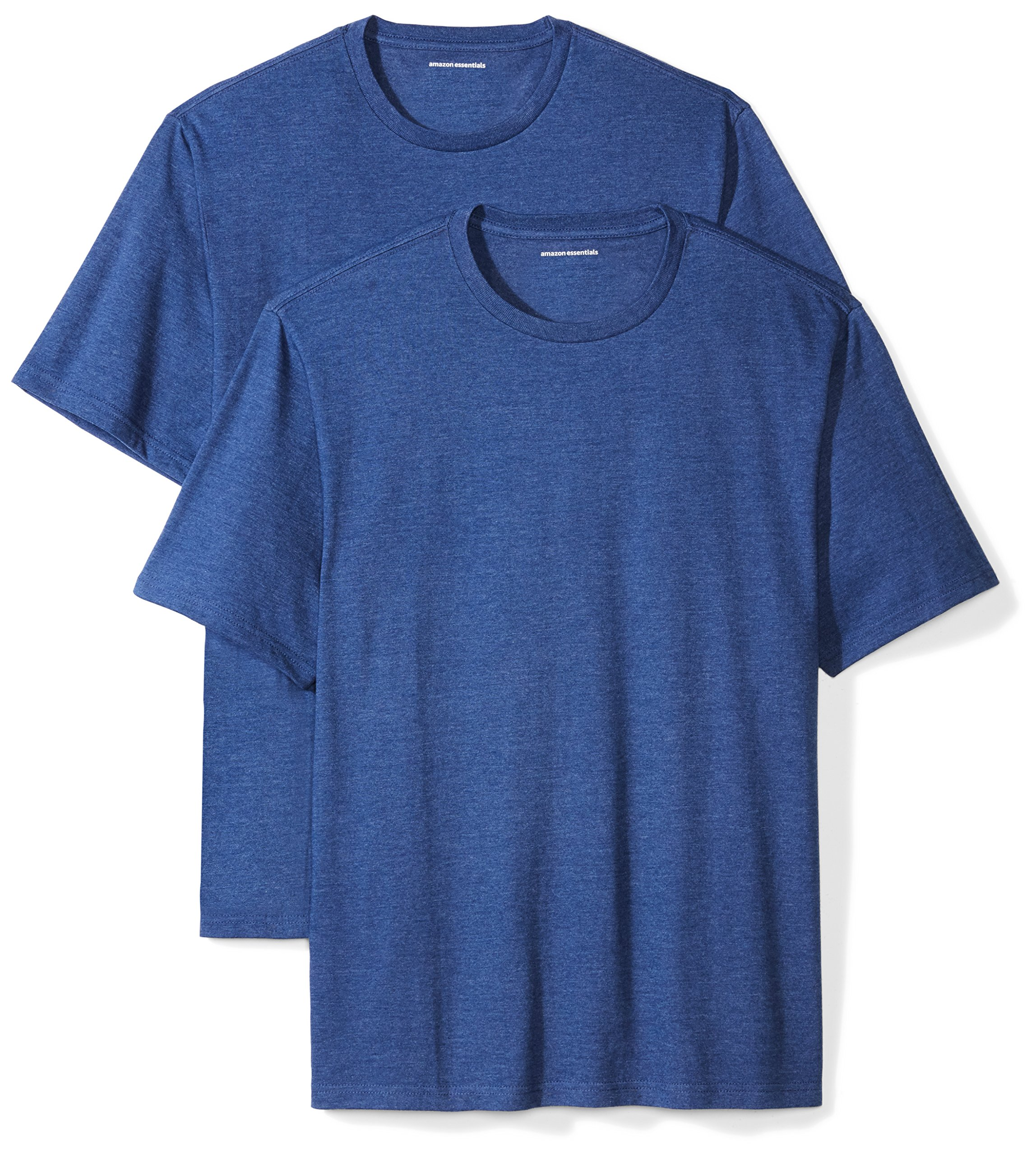 Amazon Essentials Men's 2-Pack Loose-Fit Short-Sleeve Crewneck T-Shirts, Navy Heather, Small