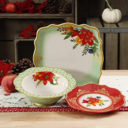 the pioneer woman christmas winter bouquet 12 piece dinnerware 2017 set - Pioneer Woman Christmas