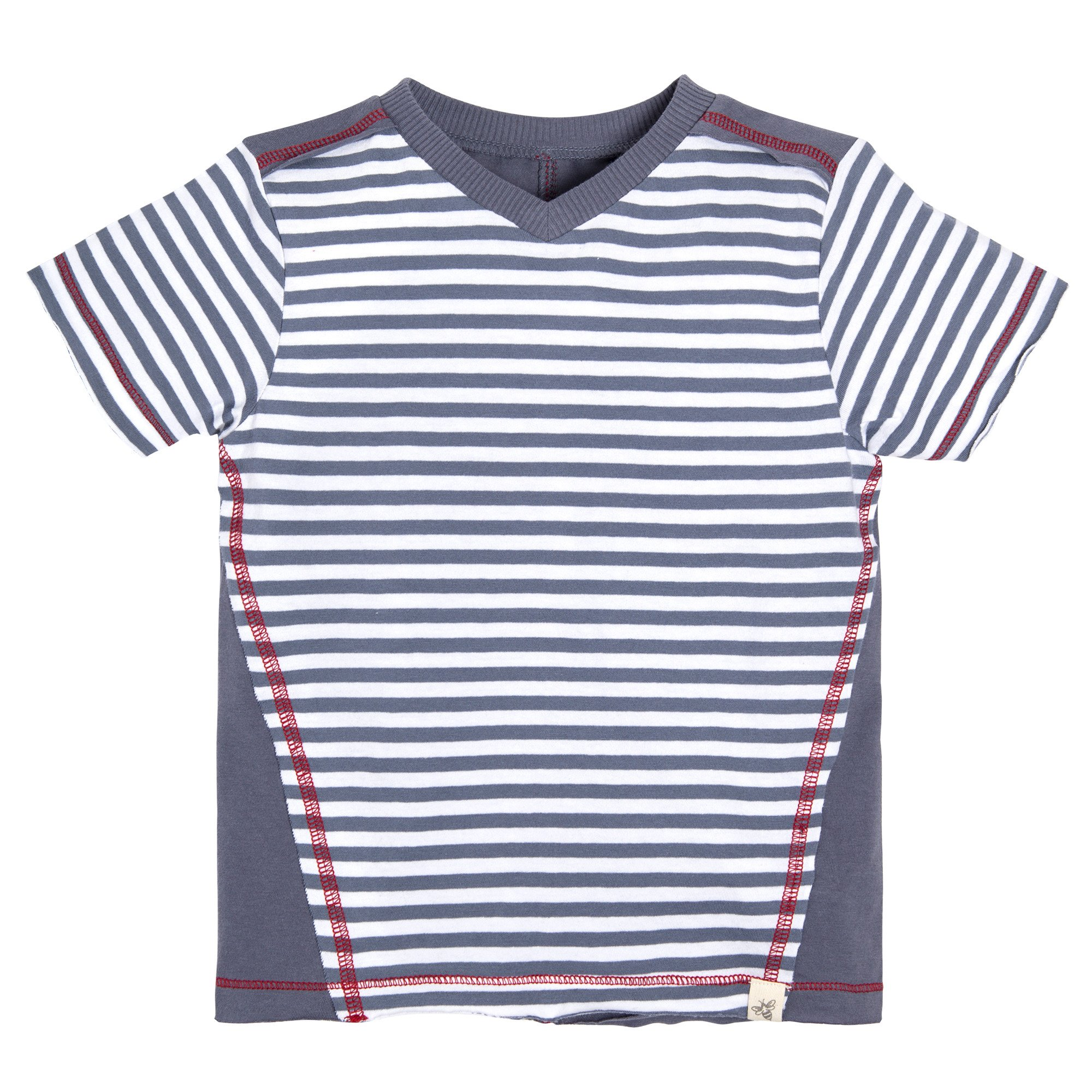 Burt's Bees Baby Boys' Organic Short Sleeve Reverse Seam High V Tee Shirt, Prairie Blue, 3T