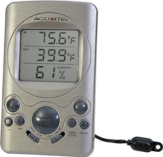 AcuRite 00891HDM Indoor Outdoor Digital Thermometer With Humidity Gauge /& Clock