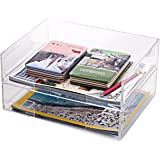 Deluxe Stacking Clear Acrylic Document Paper Trays, Desktop Organizer Racks, Set of 2