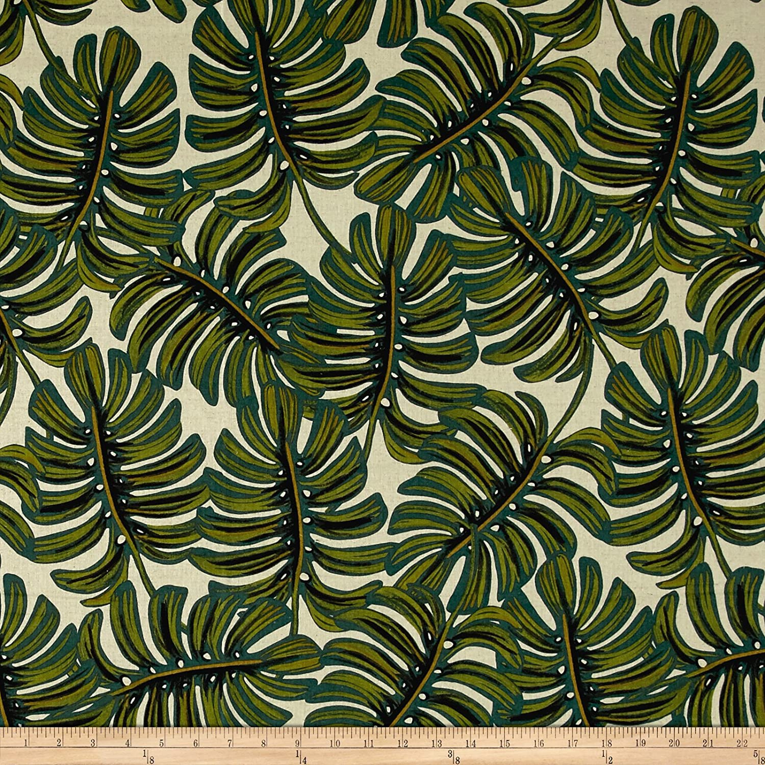 Cotton + Steel Rifle Paper Co. Menagerie Canvas Monstera Natural Cotton & Steel Fabrics