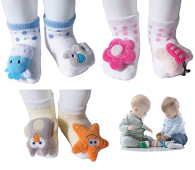 growbabygrow Newborn Baby Rattle Feet Cotton Terry Socks for 0-12months (1Pair Flower/Butterfly)