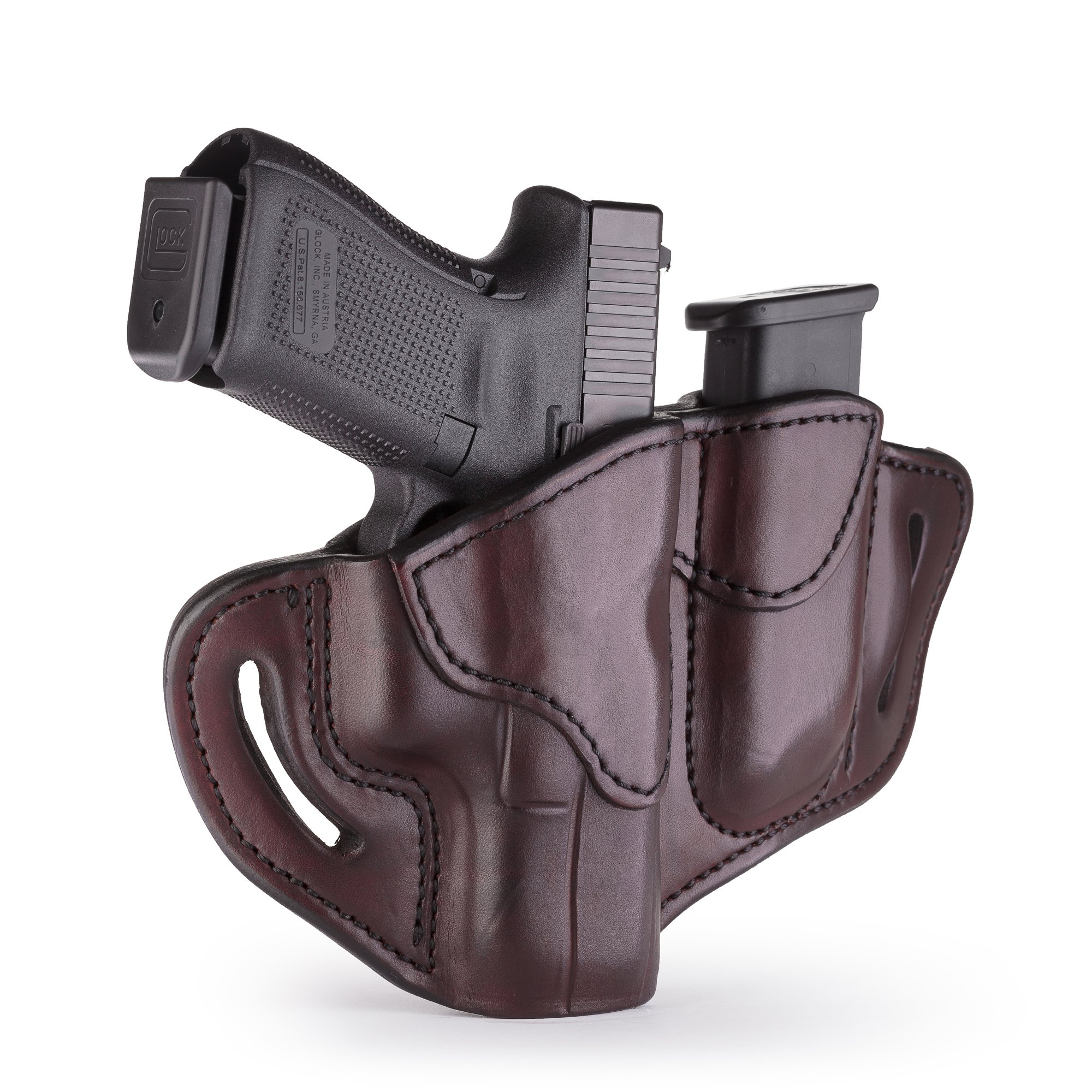 1791 GUNLEATHER Glock 19 Holster and Mag Pouch Combo - Right Hand OWB G19 Leather Holster for Belts - Fits Glock 19, 23, 26, 27, H&K VP40 and Springfield XDS (BH2.1)