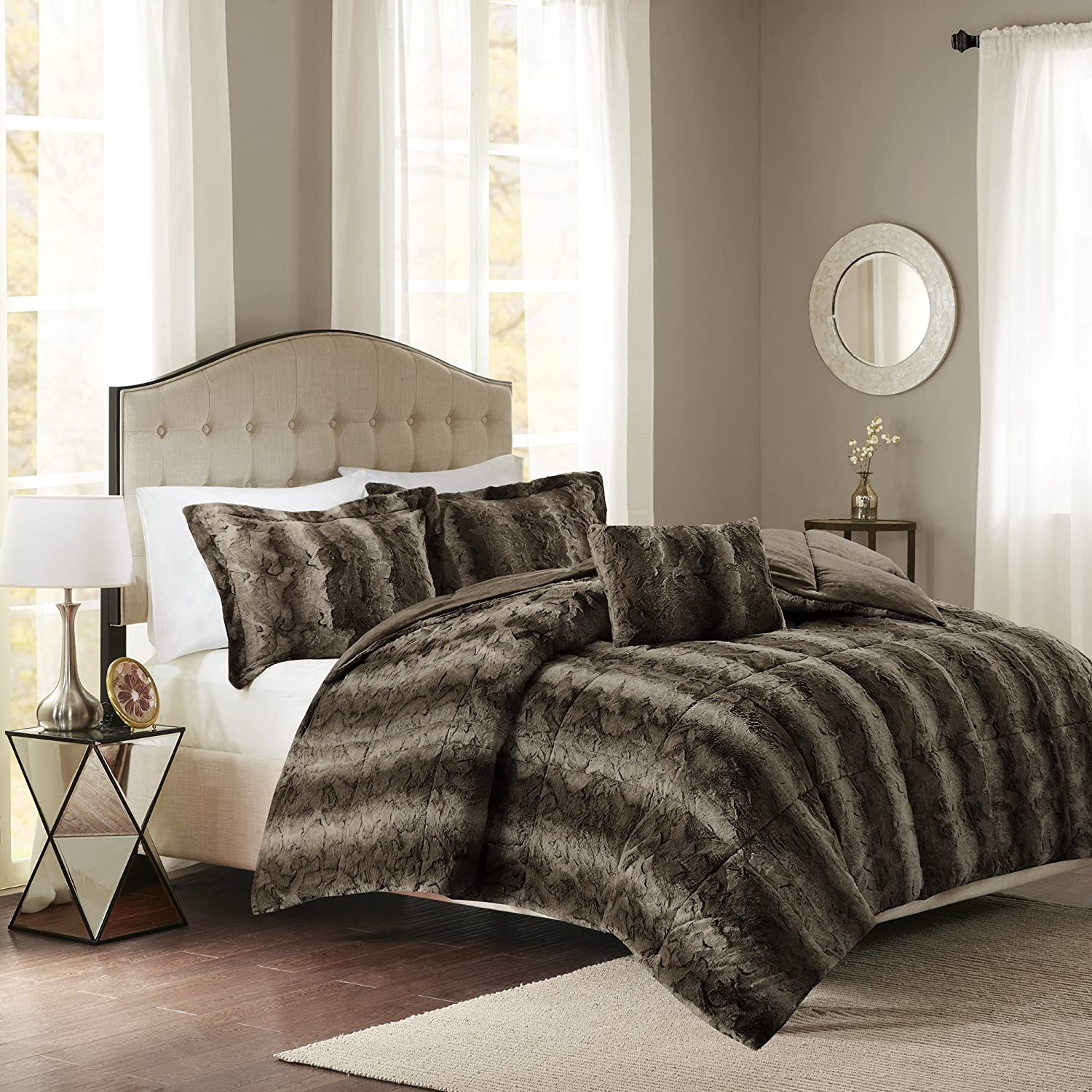 Madison Park Zuri Full/Queen Size Bed Comforter Set - Grey, Animal – 4 Pieces Bedding Sets – Faux Fur Bedroom Comforters MP10-3076