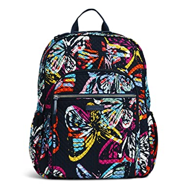 a05e7128577 Vera Bradley Iconic Campus Backpack, Signature Cotton, Butterfly Flutter
