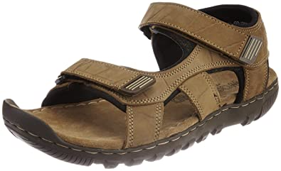 93b19b0b2d49e Woodland Men's Camel Nubuck Print Leather Sandals and Floaters - 10  UK/India (44