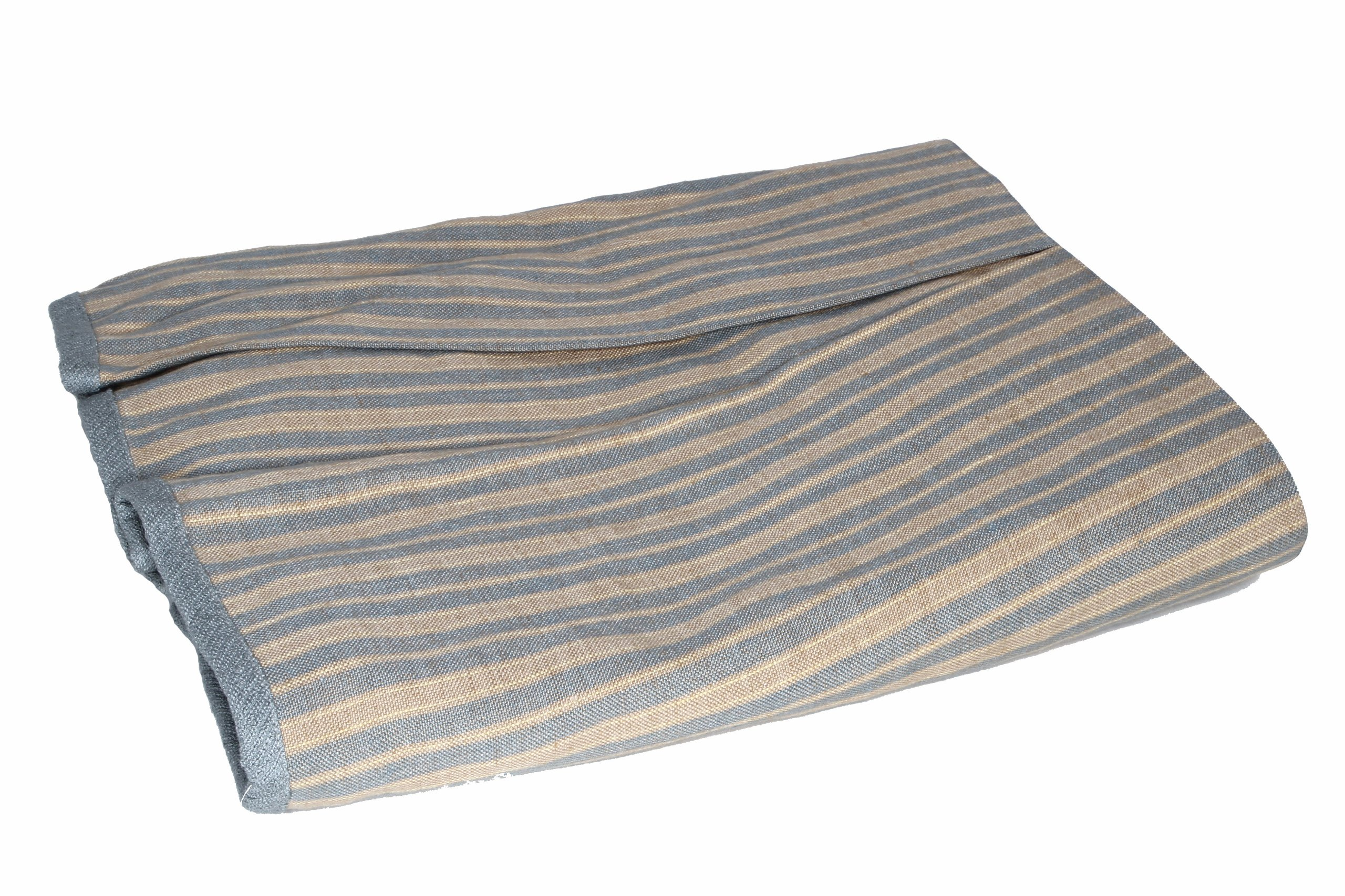 Kathryn Ireland Bradford Italian Stripe Linen Queen Decorative Bed Skirt, Blue