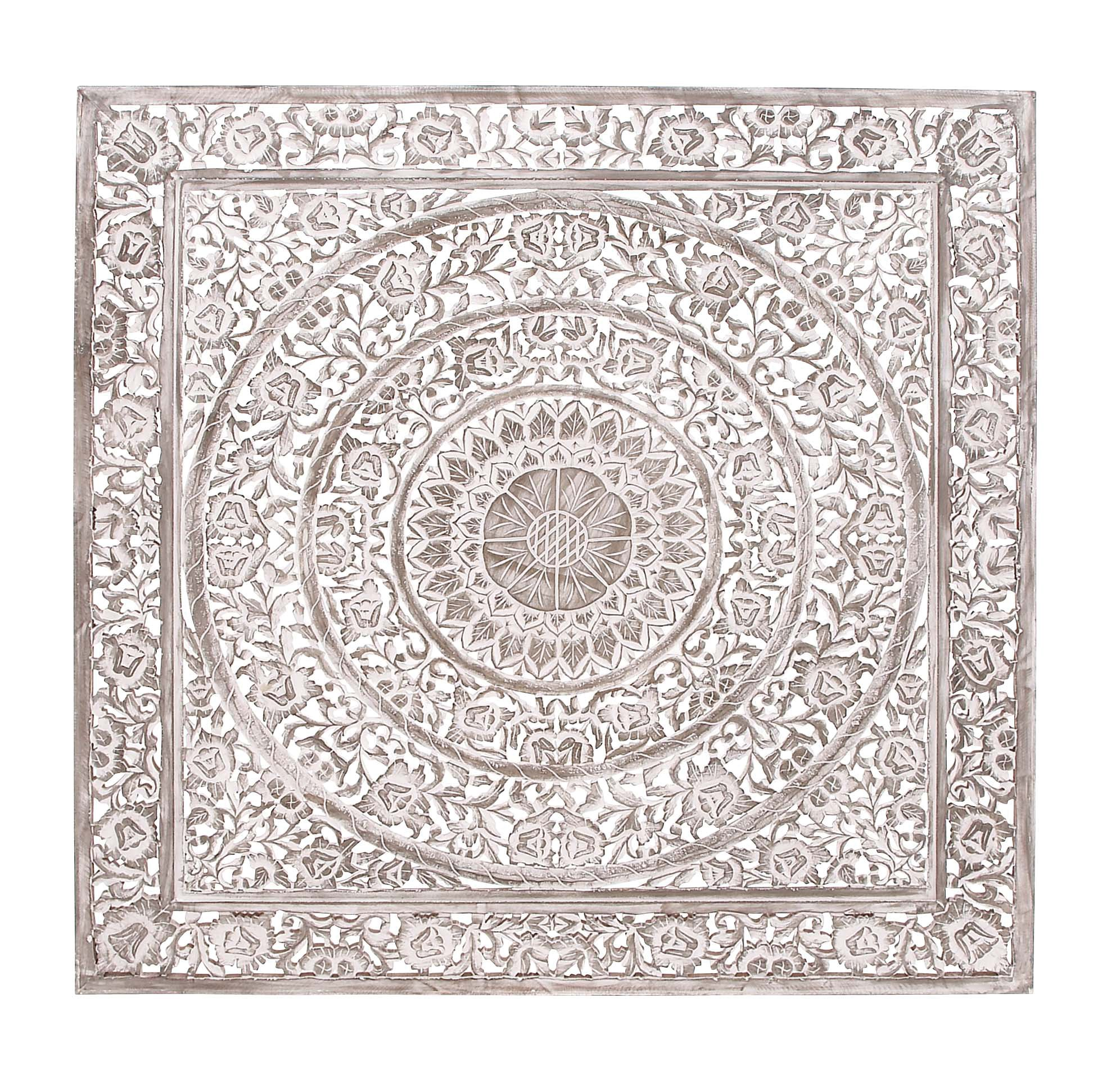 Deco 79 Wood Carved Wall Panel, 60 by 60''