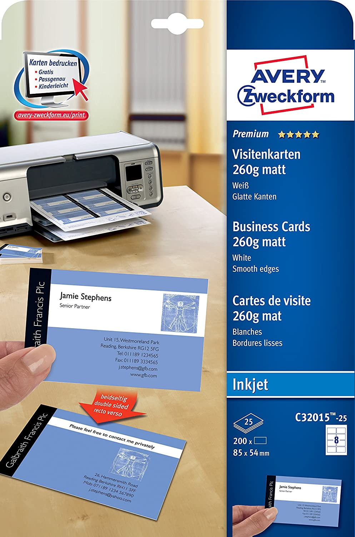 200 St/ück, 85 x 54 mm, beidseitig bedruckbar, 260 g, matt, 25 Blatt AVERY Zweckform C32015-25 Premium Visitenkarten