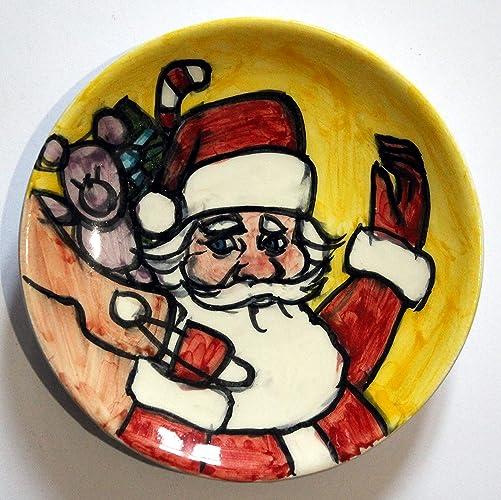 ddae0a2842e6 Papá Noel-Plato de cerámica decorado con mano de diámetro Cm 11,7 ...