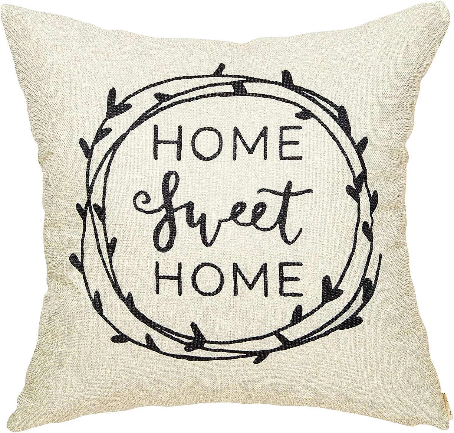 Fahrendom Rustic Home Sweet Home Olive Branch Farmhouse Decor Wedding Housewarming Gift Family Decoration Cotton Linen Home Decorative Throw Pillow Case Cushion Cover for Sofa Couch 18 x 18 in