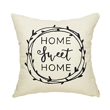Fahrendom Rustic Home Sweet Home Olive Branch Farmhouse Quote Wedding Housewarming Gift Cotton Linen Home Decorative Throw Pillow Case Cushion Cover with Words for Sofa Couch 18 x 18 in