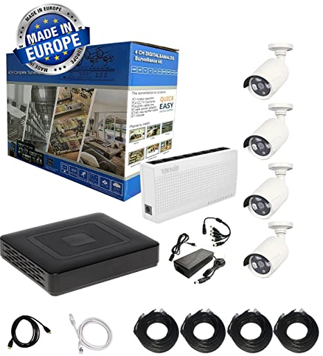 Video Vigilancia Plug & Play Kit 4 CH 1080P IP Exterior Bullet & Dome Camera Smart