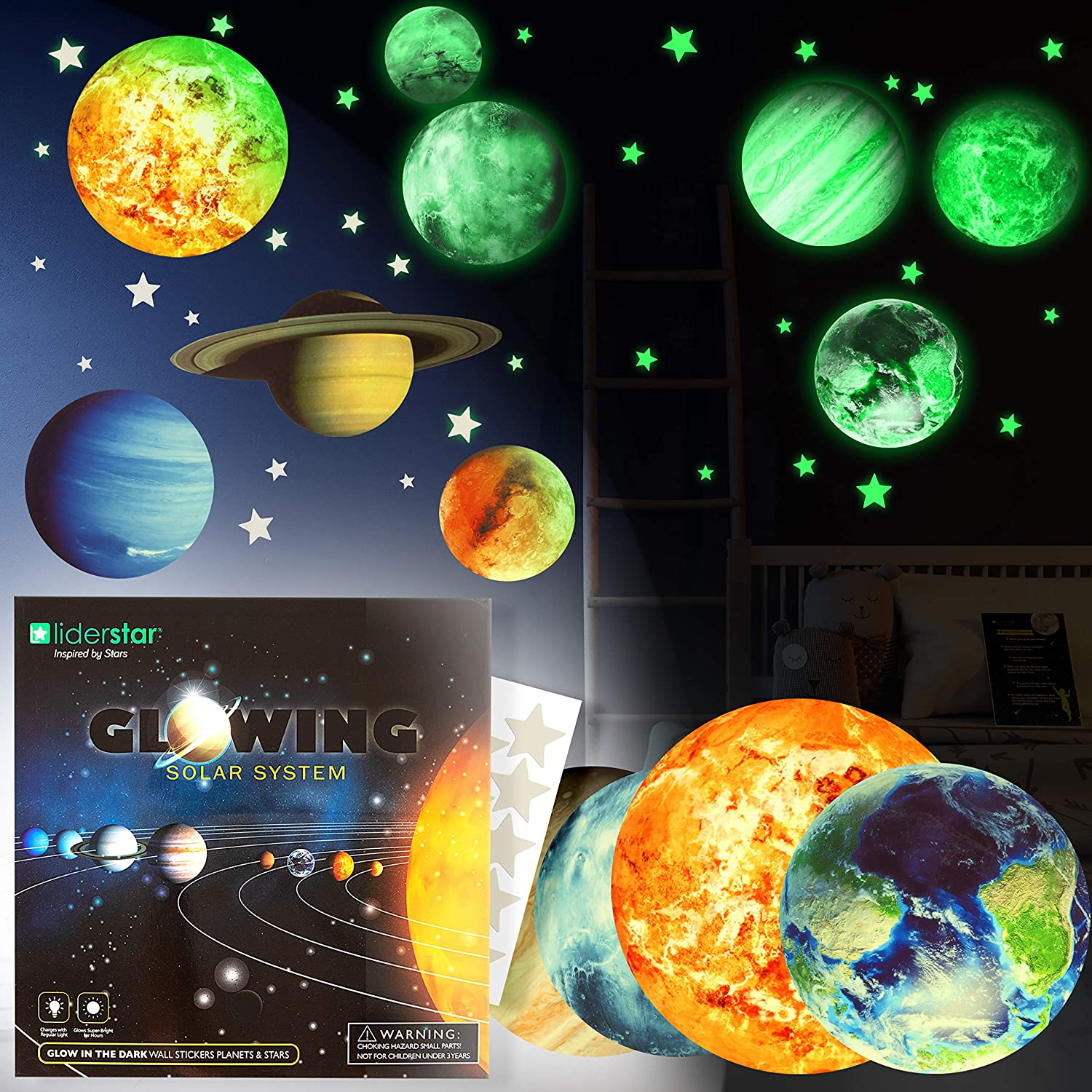 HORIECHALY Glow in The Dark Stars and Planets,Bright Solar System Wall Stickers