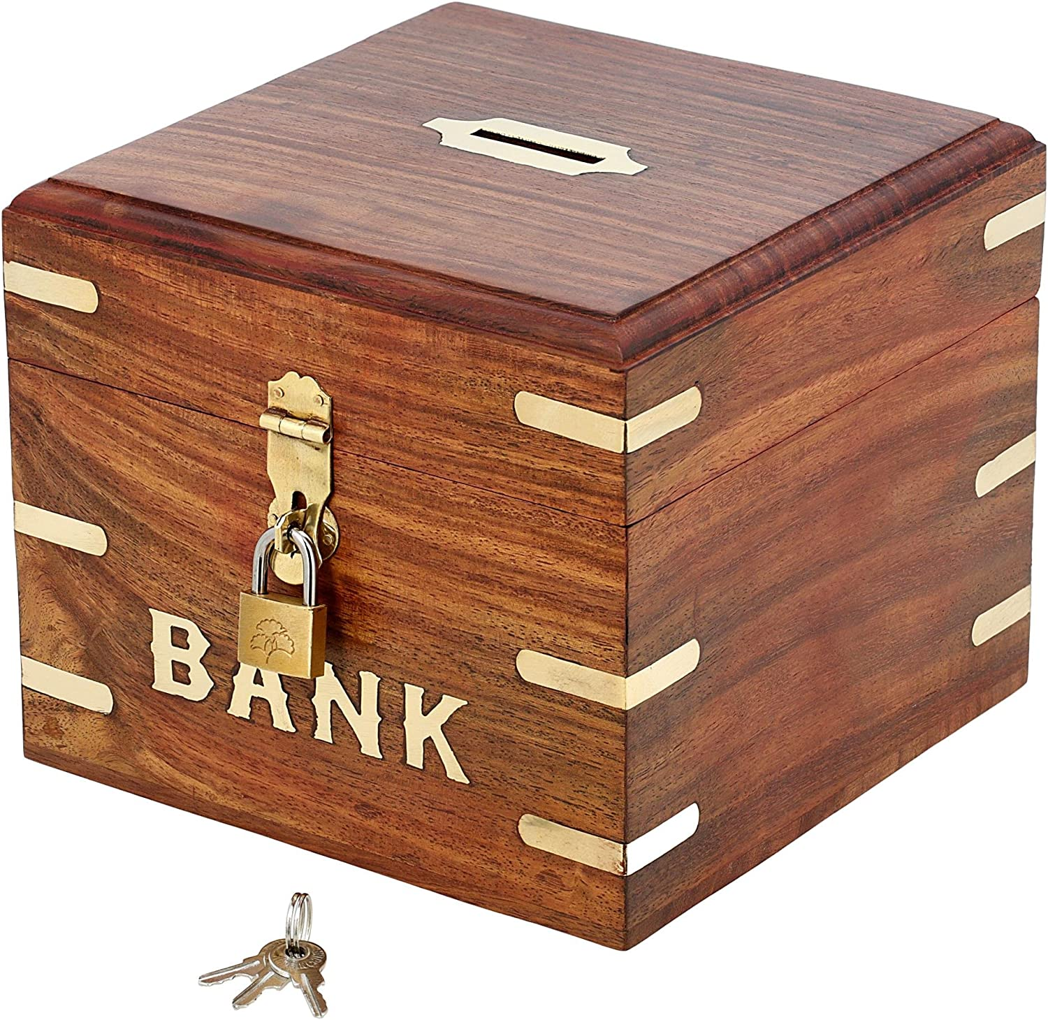 Ajuny Indian Vinatge Wooden Square Piggy Bank For Boys Girls and Any Age Size 6x6x6 Inches