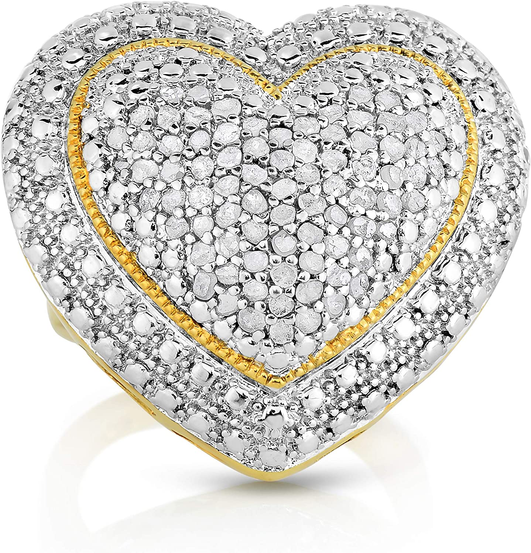 GOLD OVER BRASS 1.00 CTTW DIAMOND RING