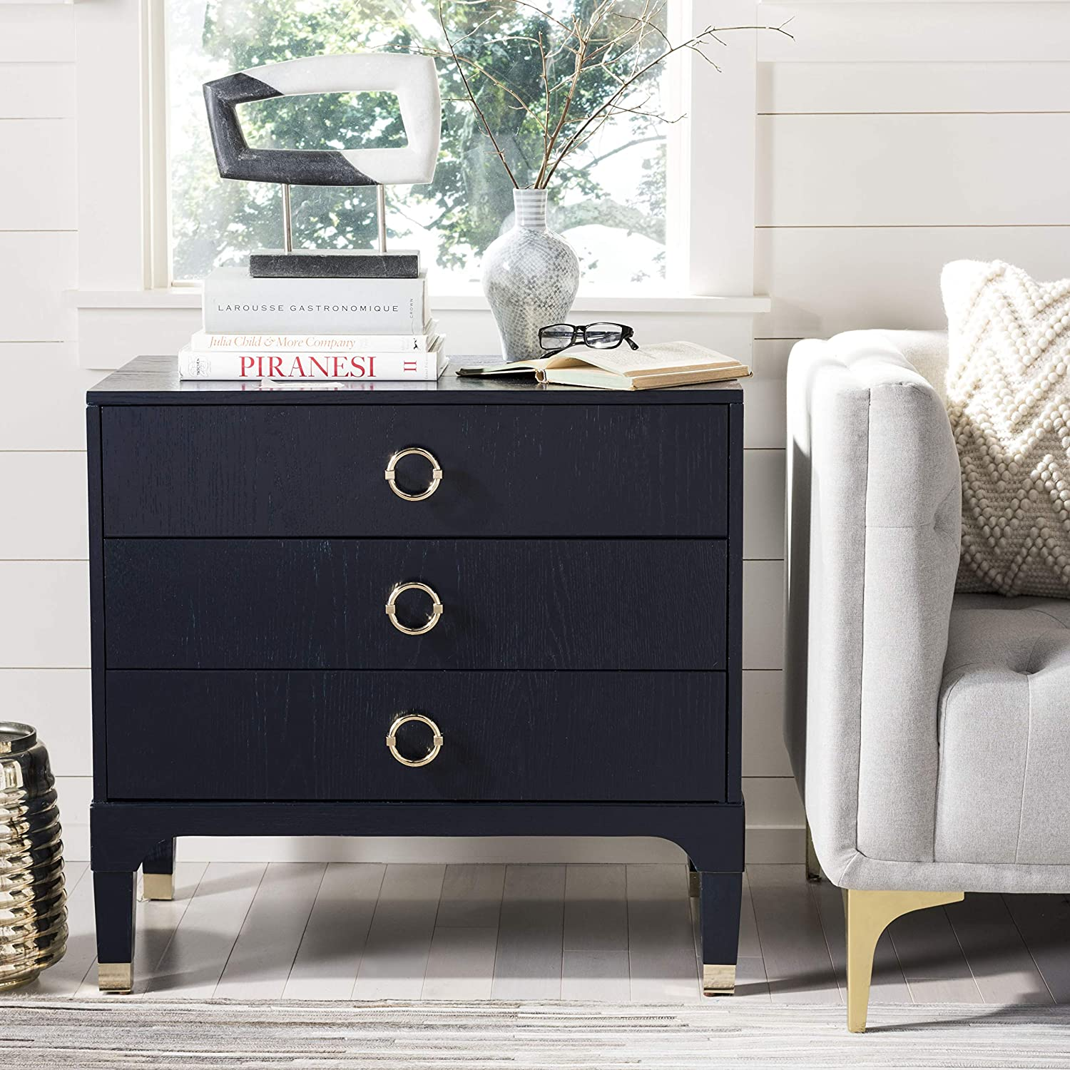 Safavieh Home Collection Lorna 3 Drawer Contemporary Night Stand Nightstand, Navy